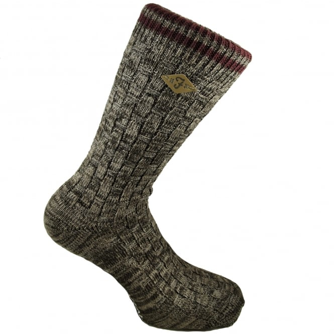 Farah Brown Basket Weave & Burgundy Striped Men's Socks