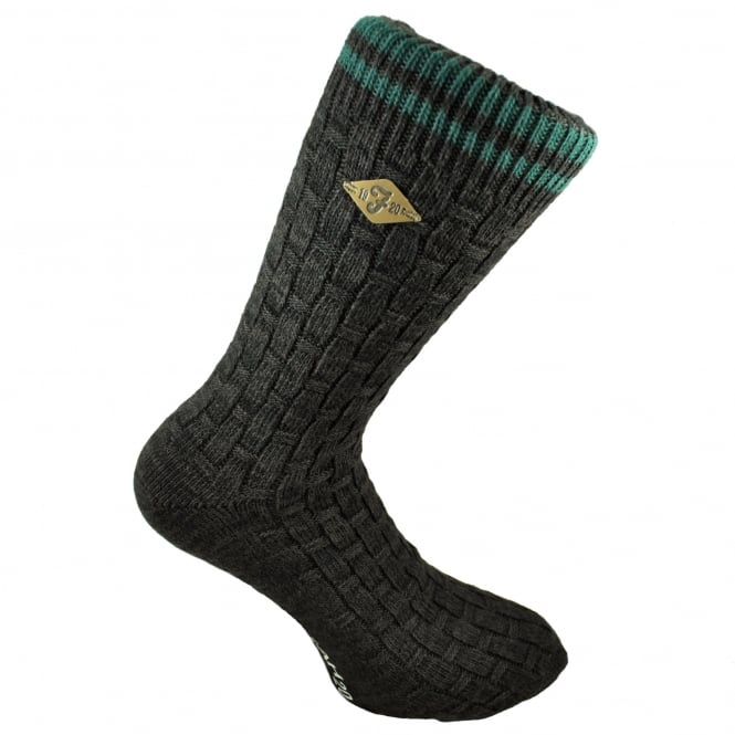 Farah Brown Basket Weave & Green Striped Men's Socks