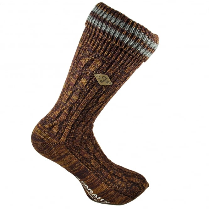 Farah Burgundy, Gold & Grey Striped Men's Socks