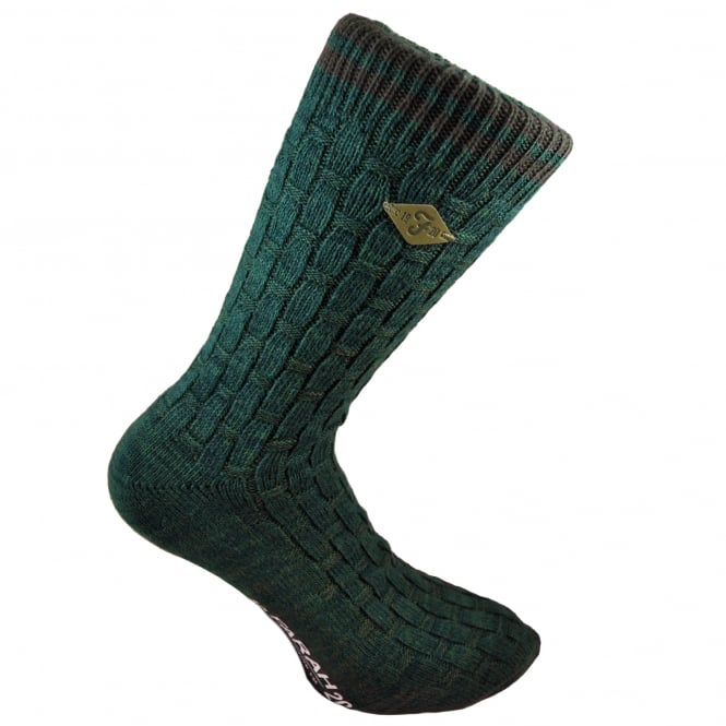 Farah Green Basket Weave & Brown Striped Men's Socks
