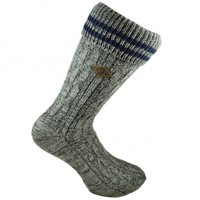Farah Grey & Navy Striped Men's Socks