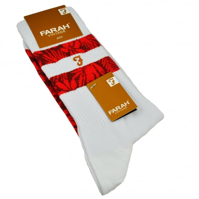 Farah White & Red Patterned Men's Socks