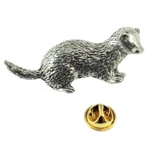 Ferret English Pewter Lapel Pin Badge