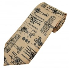 First World War Planes Beige Men's Tie