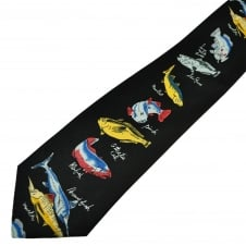 Fish with Names Black Men's Novelty Tie
