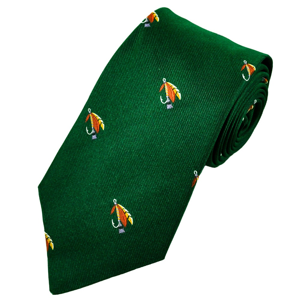 fly fishing green silk novelty tie from ties planet uk