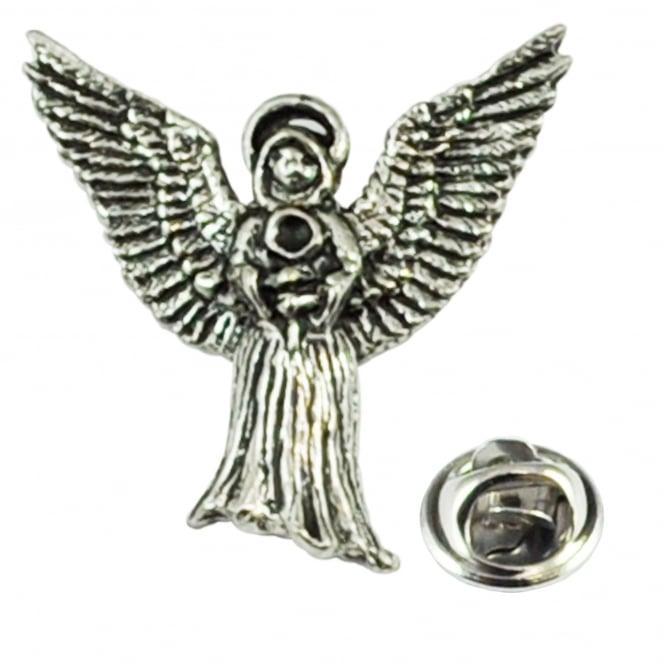 Ties Planet Flying Angel English Pewter Lapel Pin Badge
