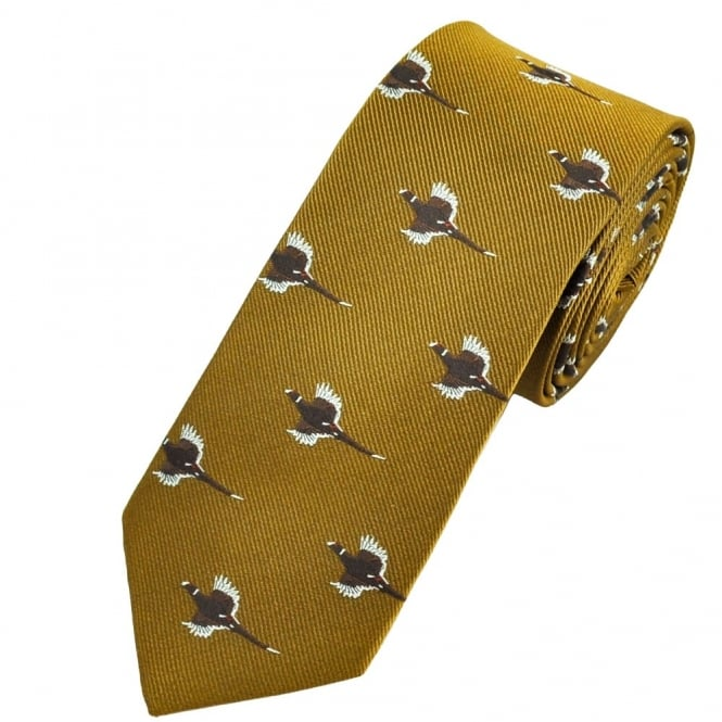 Flying Pheasants Olive Gold Luxury Silk Country Tie