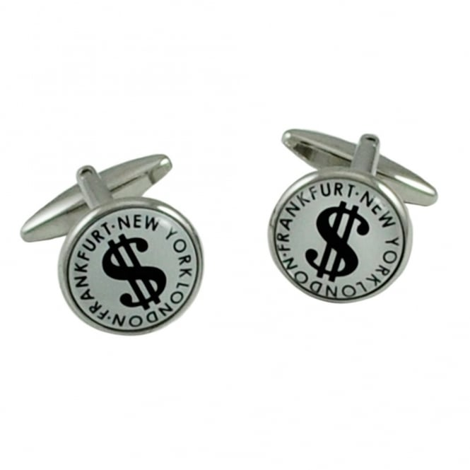 Frankfurt, London, New York Dollar Sign Stock Exchange Cufflinks