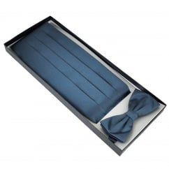 French Navy Blue Cummerbund & Bow Tie Set
