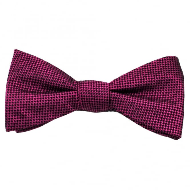 Fuchsia Pink & Black Checked Patterned Men's Silk Bow Tie