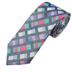 Fuchsia Pink, Blue & White Patterned Men's Silk Tie