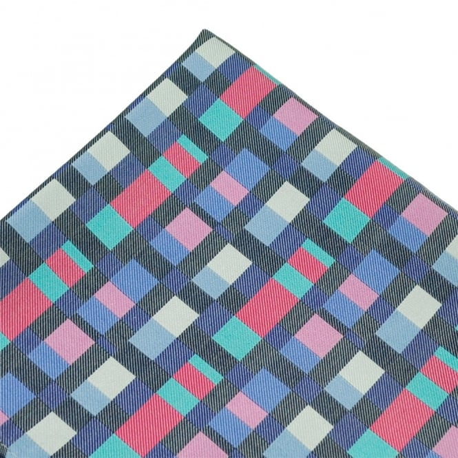 Fuchsia Pink, Blue & White Patterned Silk Pocket Square Handkerchief