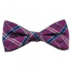 Fuchsia Pink Checked Patterned Silk Bow Tie