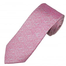 Fuchsia Pink, Lilac & Silver Micro Checked Patterned Luxury Men's Silk Tie