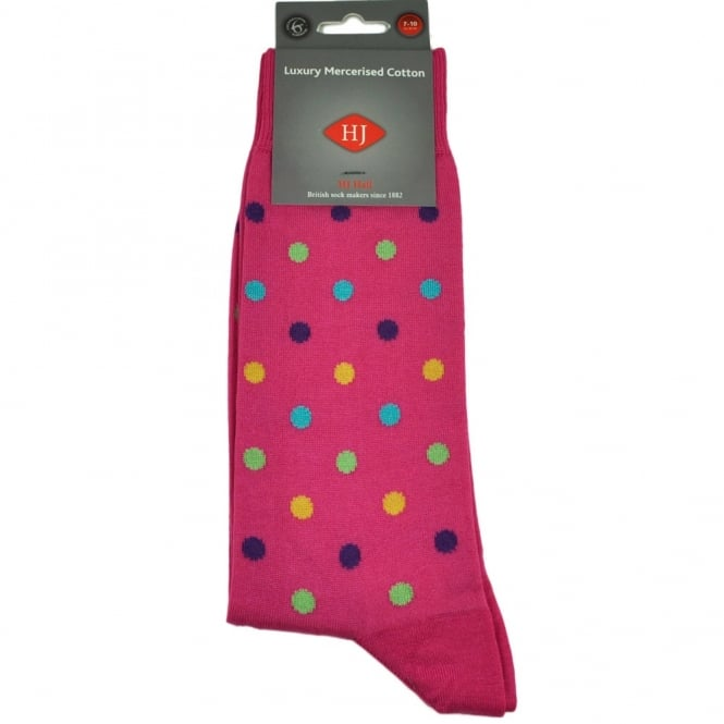 Fuchsia Pink & Multi Coloured Spots Men's Socks by HJ Hall Size: 7-10