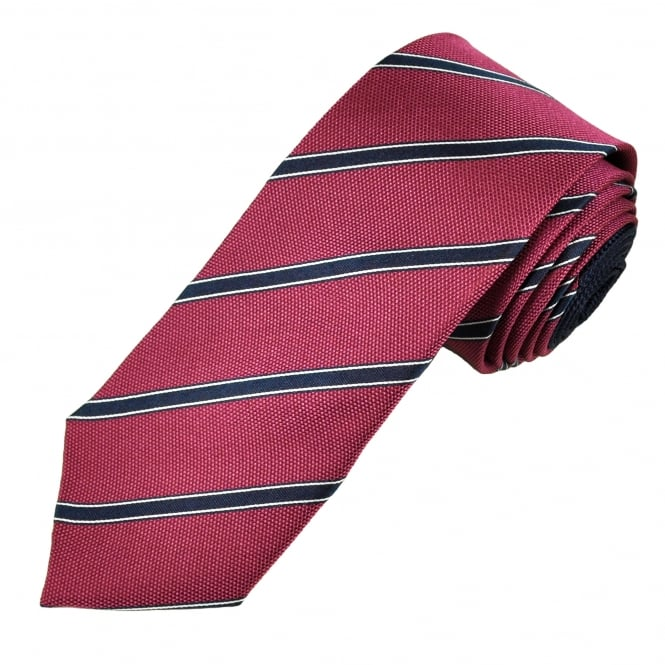 Fuchsia Pink, Navy Blue & Silver Striped Men's Silk Tie