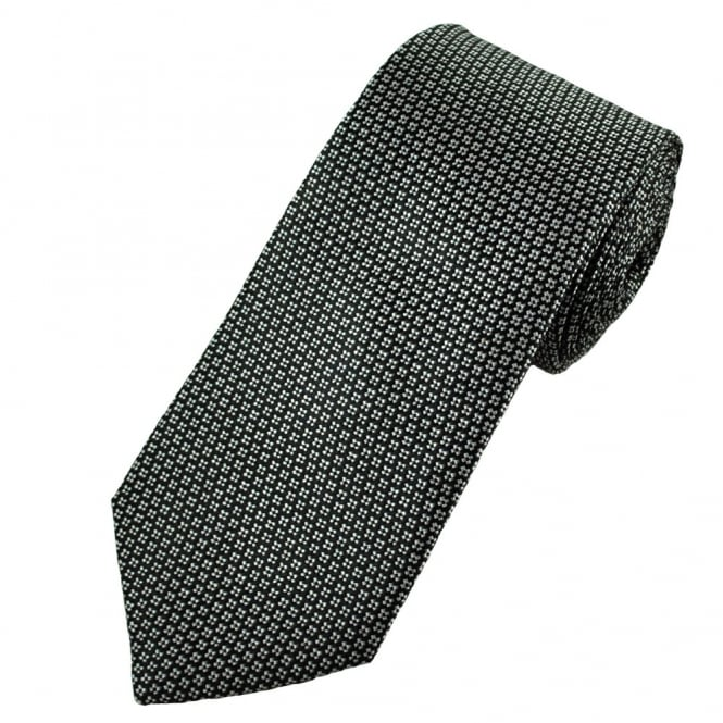 Gagliardi Black & White Flower Patterned Silk Designer Tie