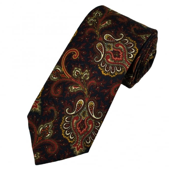 Gagliardi Navy Blue, Red & Yellow Paisley Wool Designer Tie