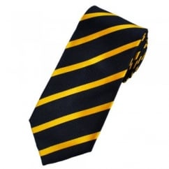 Gagliardi Navy Blue & Yellow Striped Silk Designer Tie