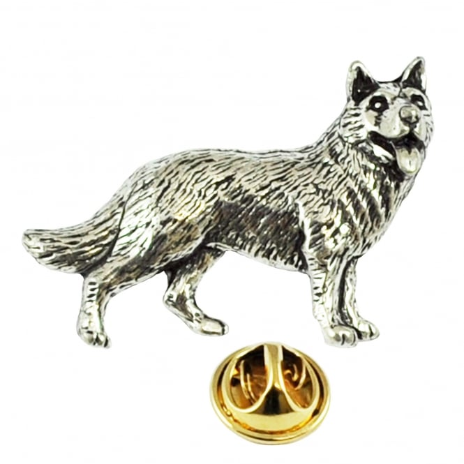 German Shepherd Dog Pewter Lapel Pin Badge
