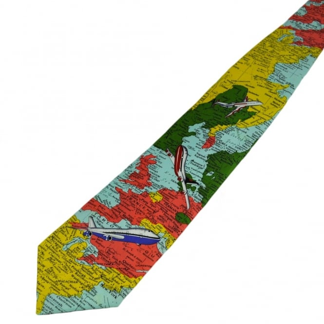 World Map Tie.Globe Trotting World Map Planes Novelty Tie From Ties Planet Uk