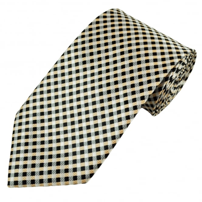 Gold, Black & Silver Grey Checked Men's Tie
