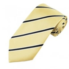 Gold, Navy Blue & White Striped Men's Silk Tie - Gift Boxed