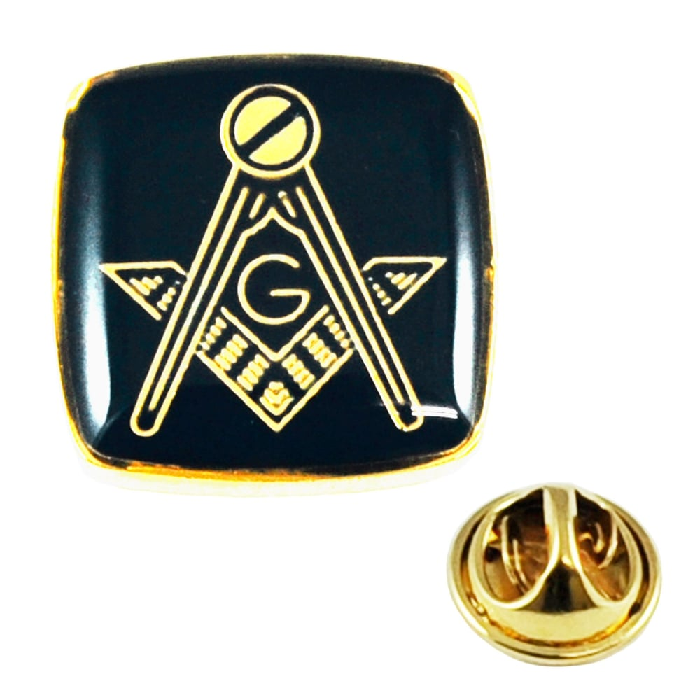 Gold Plated Black Masonic With G Lapel Pin Badge From Ties Planet Uk