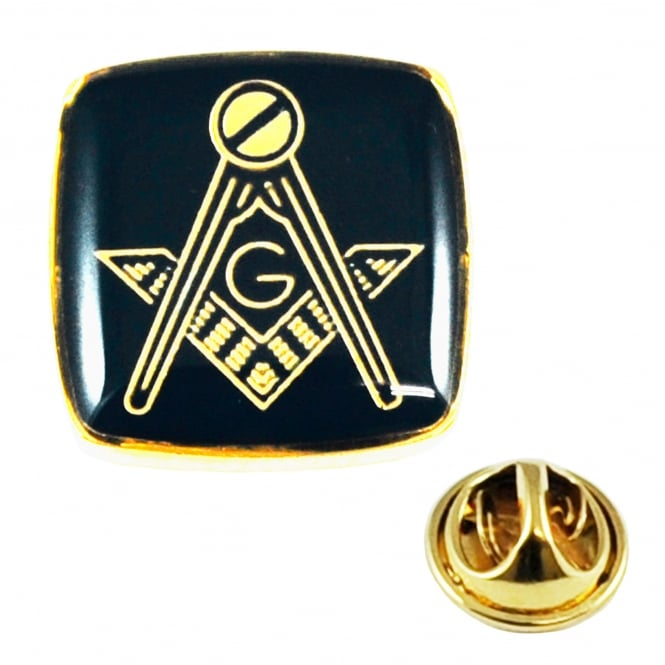 Gold Plated & Black Masonic With G Lapel Pin Badge