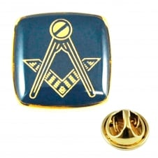 Gold Plated & Blue Masonic Lapel Pin Badge