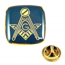 Gold Plated & Blue Masonic With G Lapel Pin Badge
