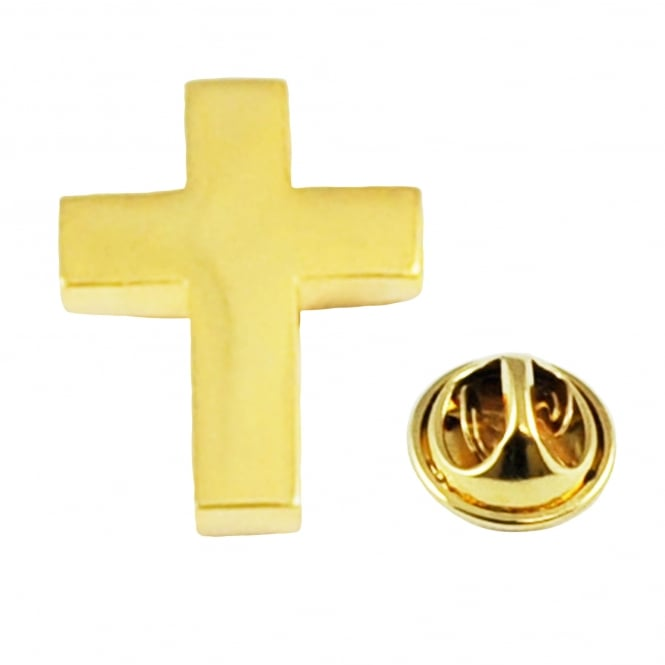 Gold Plated Christian Cross Lapel Pin Badge