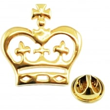 Gold Plated Flat Crown Lapel Pin Badge