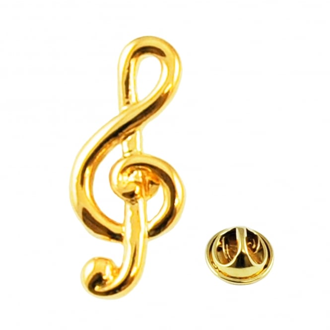 Gold Plated Treble Clef Lapel Pin Badge