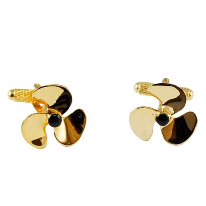 Gold Propeller Novelty Cufflinks
