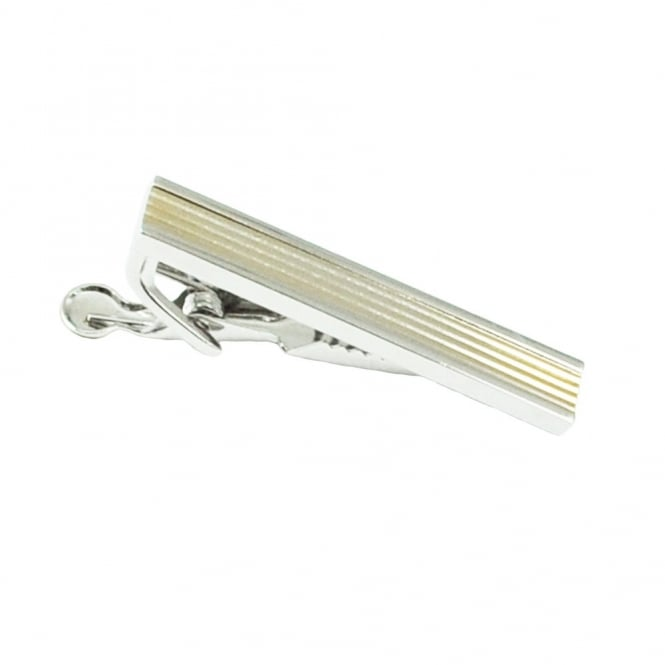 Gold & Silver Striped Skinny Tie Bar - 43mm