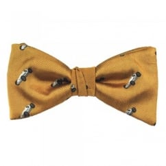 Gold With Silver Vintage Racing Car Luxury Silk Men's Bow Tie