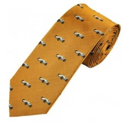 Gold With Silver Vintage Racing Car Luxury Silk Narrow Men's Tie