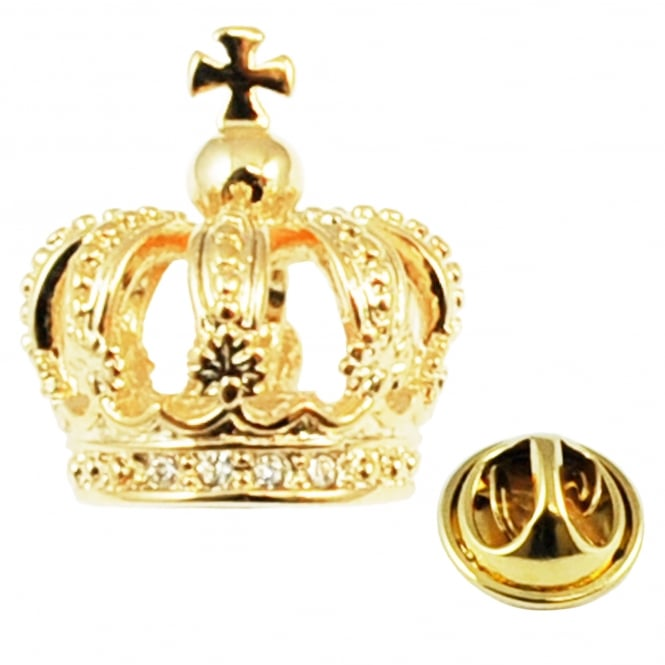 Golden 3D Crown Lapel Pin Badge