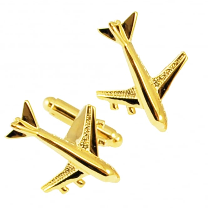 Golden Aeroplane Novelty Cufflinks