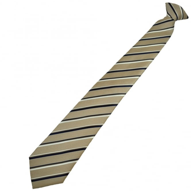 Golden Brown, Navy Blue & White Striped Clip On Tie