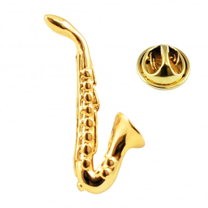 Golden Saxophone Lapel Pin Badge