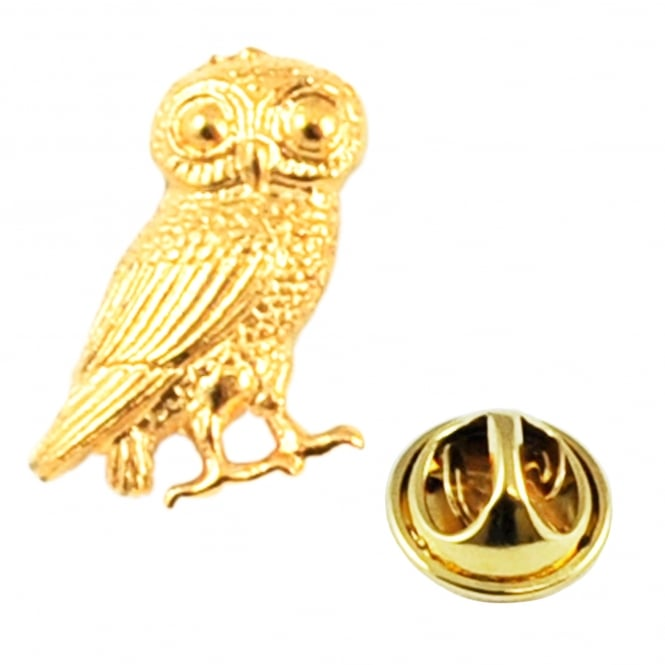 Golden Wise Owl of Athena Lapel Pin Badge