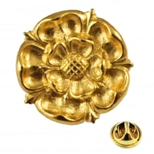Golden Yorkshire Rose Lapel Pin Badge