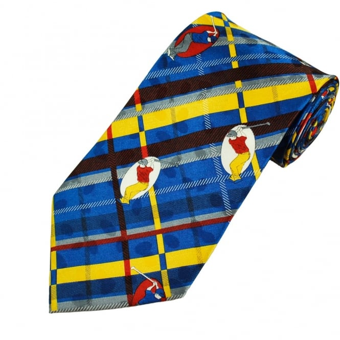 Golf Blue, Yellow, Red & Grey Checked Men's Novelty Tie