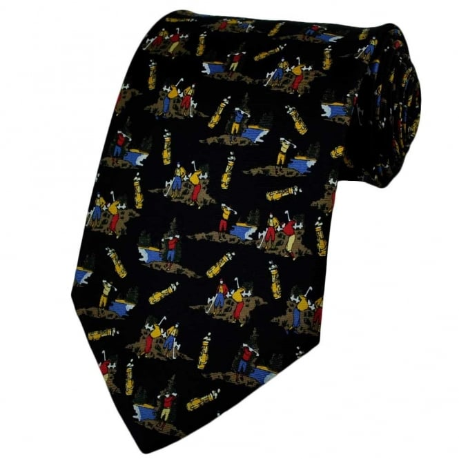 Golf Players & Bags Navy Blue Silk Novelty Tie