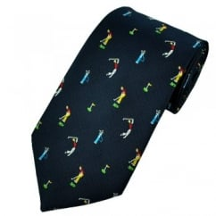 Golf Themed Navy Blue Novelty Tie