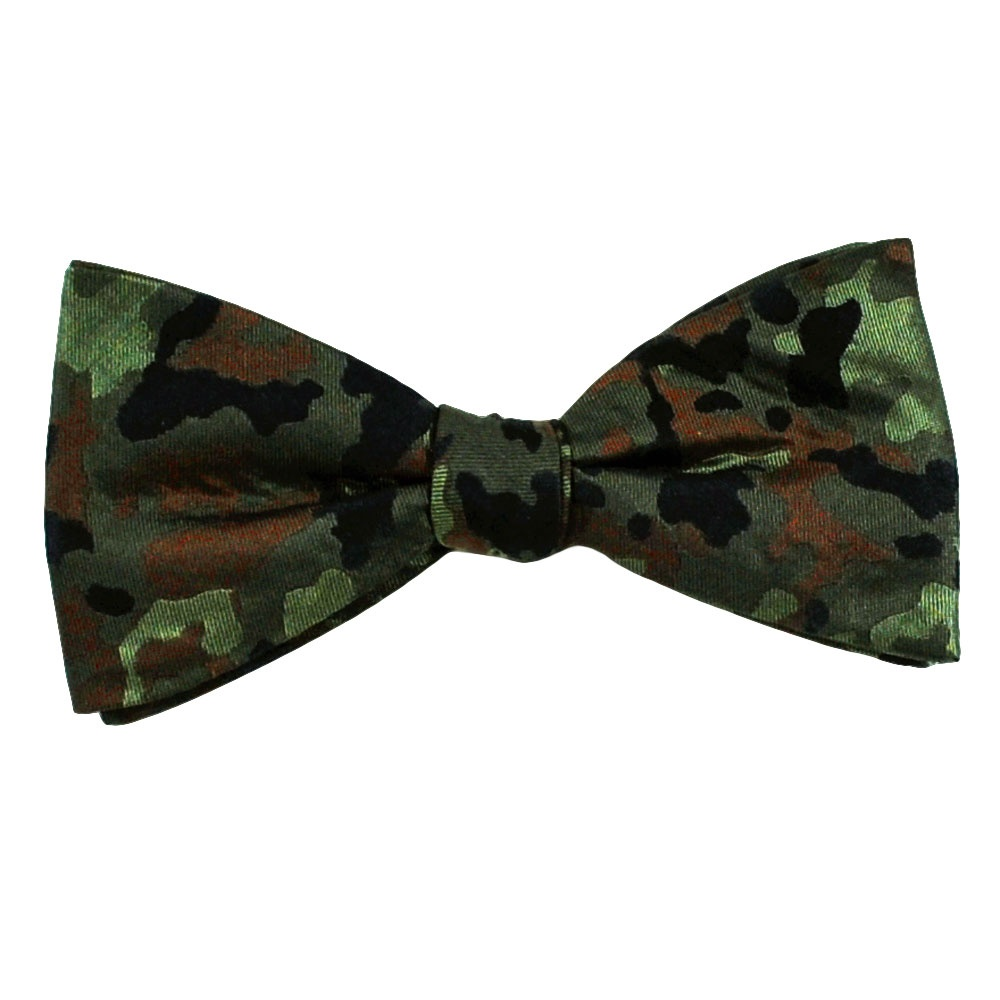 green black brown camouflage patterned silk bow tie