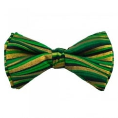 Green, Black & Gold Horizontal Wave Patterned Bow Tie